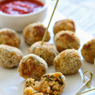 Baked Mini Spinach and Sausage Arancini.
