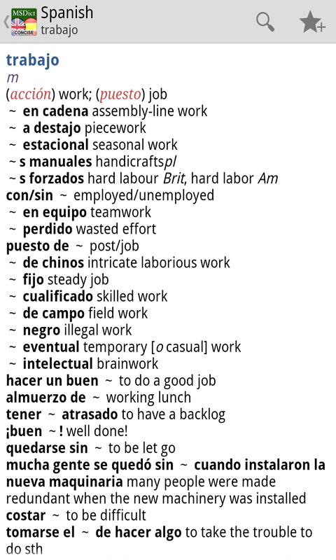 Dictionary English <-> Spanish - screenshot