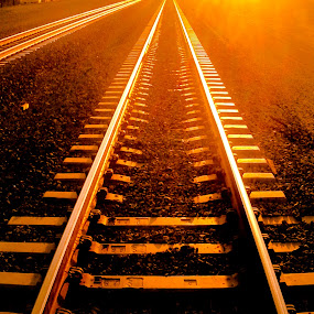 by Raymond Bordeaux - Transportation Railway Tracks ( train, gold, travel, golden, inspirational,  )