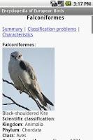 Screenshot of Encyclopedia Of European Birds