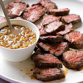 Hanger Steak with Green-Garlic Sauce.