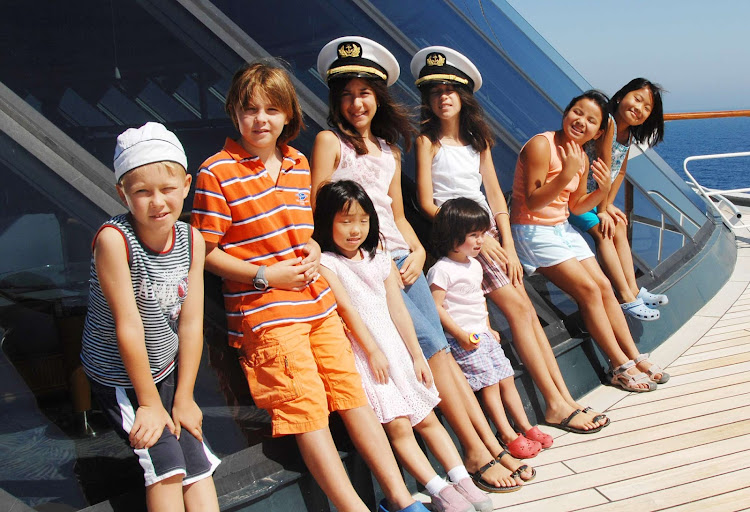 All hands on deck! Junior Cruisers during their exploration of Crystal Serenity.