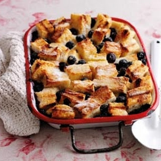 Bread And Butter Pudding With Blueberries