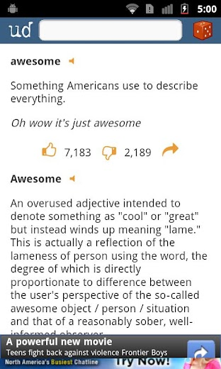 Screenshot 2 for Urban Dictionary's Android app'