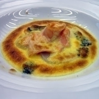 Scallop, Smoked Salmon And Blue Cheese Gratin.