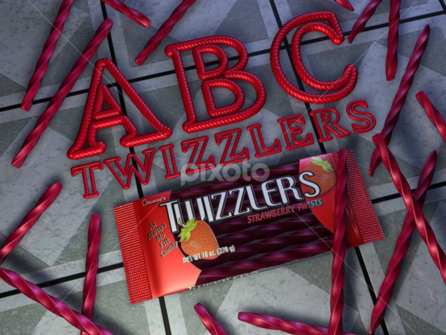 Twizzlers  by Markham Mack - Typography Words ( markham mack., text. font. twizzzlers. candy. strawberry. 3d graphics. )