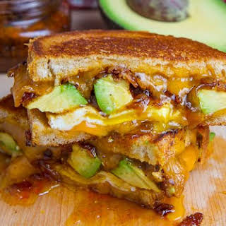 Bacon Jam and Avocado Grilled Cheese Sandwich with Fried Egg.