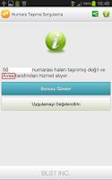 Screenshot of Numara Taşıma Sorgulama