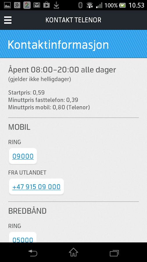 Mitt Telenor - screenshot
