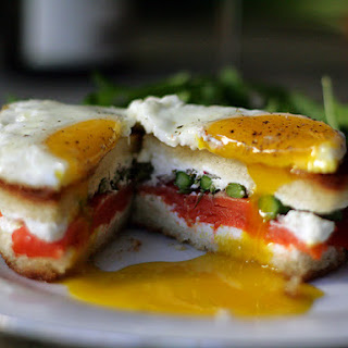 Smoked Salmon, Asparagus and Goat Cheese Grilled Cheese with Fried Egg.