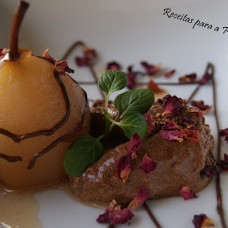 Chocolate Mousse with Pears Baked in Rooibos Jelly Tea.