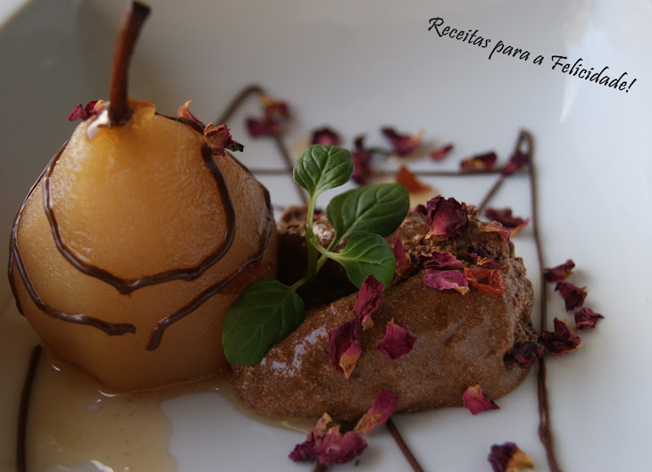 Chocolate Mousse with Pears Baked in Rooibos Jelly Tea Recipe
