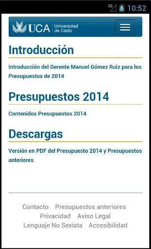 Presupuestos UCA 2014