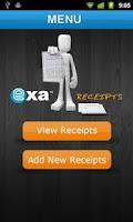Screenshot of Exa Receipts