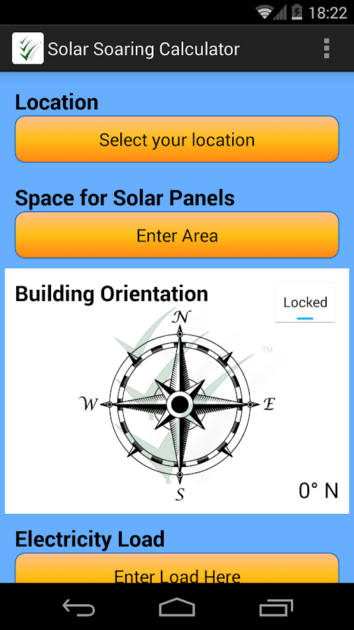 Solar soaring calculator- screenshot