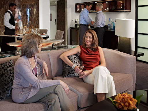 How suite it is: Oceania Riviera's in-suite dining service offers you the flexibility to entertain your friends in the comfort of your own living room.