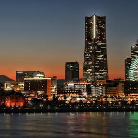 Yokohama - Minatomirai by Lenny Sharp - City,  Street & Park  Skylines ( skyline, japan, fuji, yokohama, city )