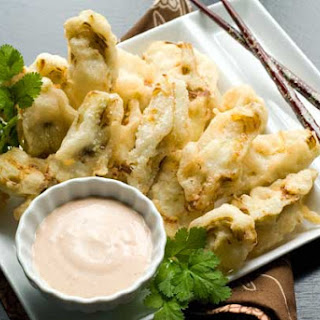 Gluten Free Tempura Artichoke Hearts with Vegan Goody-Goody Sauce