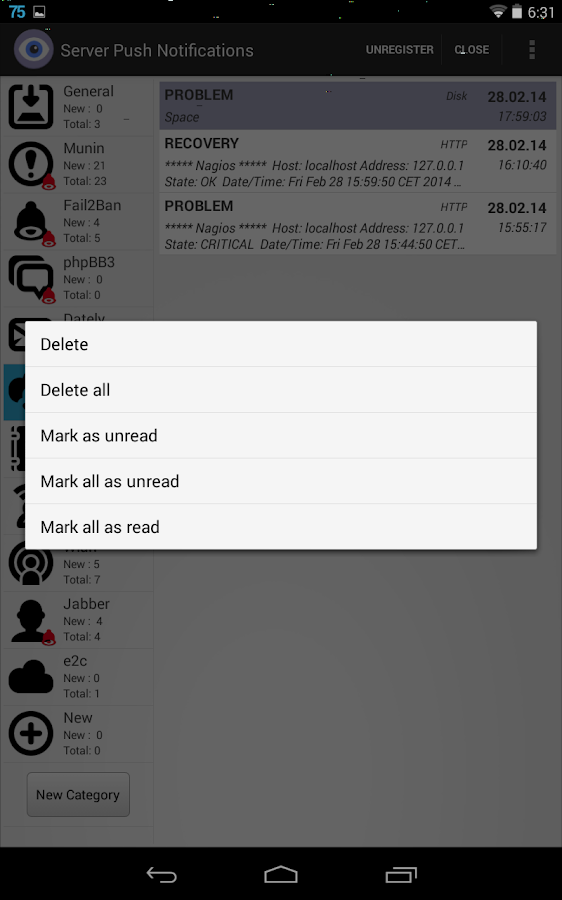 Server Push Notifications LITE- screenshot