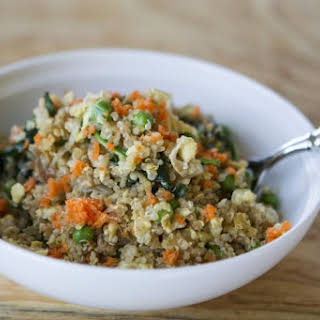 "Quinoa ""Fried Rice"" with Broccoli, Carrots, Sesame."