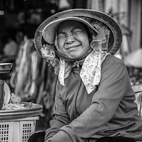 Pomelo saleswoman by Callum Harris - City,  Street & Park  Street Scenes ( black and white, woman, black & white, street, lady, photo )