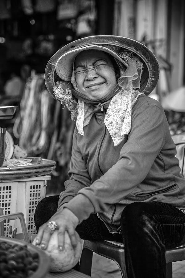 Pomelo saleswoman by Callum Harris - City,  Street & Park  Street Scenes ( black and white, woman, black & white, street, lady, photo )
