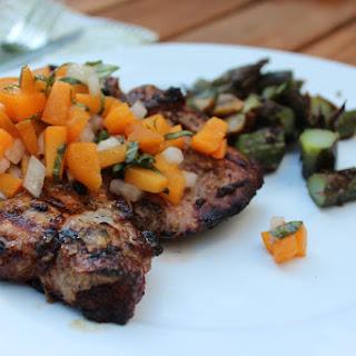 Mustard Grilled Pork Chops w/ Basil-Apricot Relish
