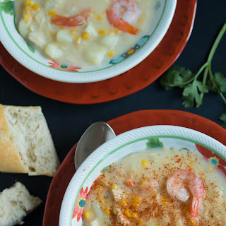 Chicken and Shrimp Potato Corn Chowder - Chupe de Pollo y Camarones