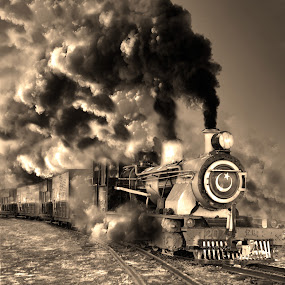 Steam Galore by Agha Ahmed - Black & White Landscapes ( railroad tracks, railway, railroad, steam train, train, smoke, steam )