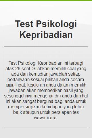 Tes Psikologi Kepribadian- screenshot