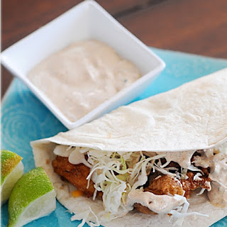 Beer Battered Fish Tacos with Baja Sauce.