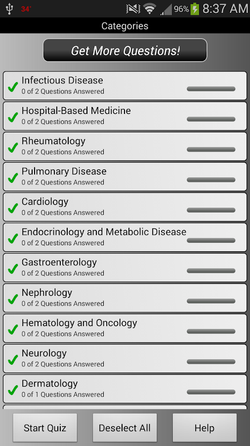 PreTest Medicine - screenshot