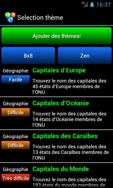 Qizzle pack pays du monde - screenshot