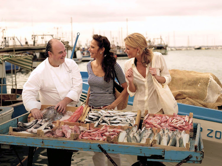 Watch the Seabourn cruise chef pick from a good selection of fresh catches of the day at the Fish Market.