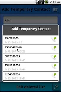 Temporary Contacts- screenshot thumbnail