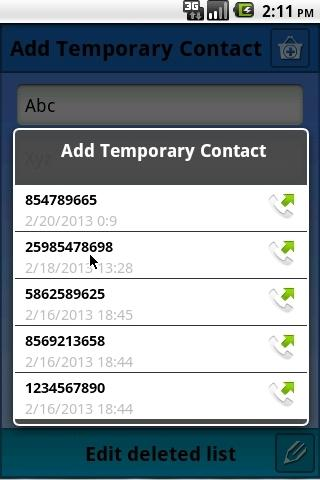 Temporary Contacts- screenshot