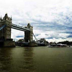 London Bridge by Alexandra Rafaila - Buildings & Architecture Bridges & Suspended Structures ( water, england, sky, london, blue, black and white, transportation, bridge, boat, city,  )