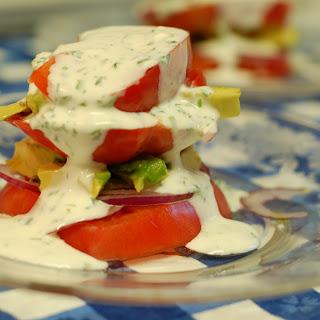 Heirloom Tomato and Avocado Stacks with Buttermilk Cilantro Dressing Recipe