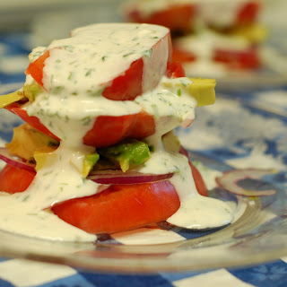 Heirloom Tomato and Avocado Stacks with Buttermilk Cilantro Dressing.