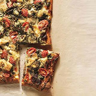 Artichoke, Tomato and Spinach Pizza.