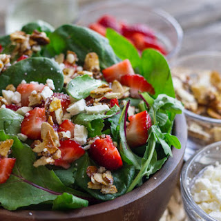 Strawberry and Spinach Salad With Almond Vinaigrette.