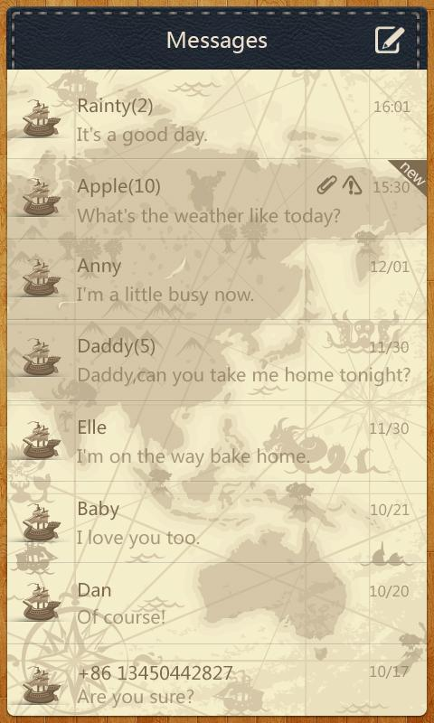 GO SMS Pro Navigation ThemeEX - screenshot