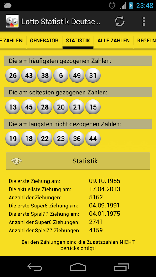 Lotto Statistik Deutschland - screenshot