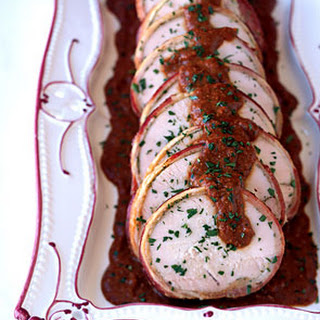 Bacon-Wrapped Turkey Breast with Hazelnut Mole