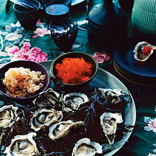 Kumamoto Oysters with Ponzu Granita and Tobiko.