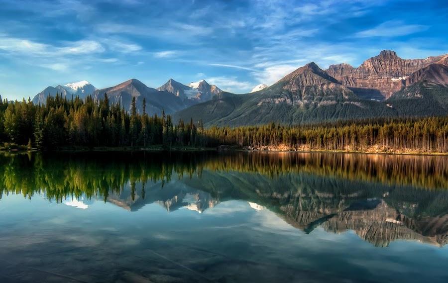 Early Light by Len Saltiel - Landscapes Mountains & Hills ( reflection, mountains, alberta, herbert lake, lake, banff )