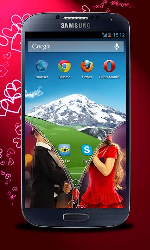 玩免費個人化APP|下載可愛的情侶拉鍊鎖屏 app不用錢|硬是要APP