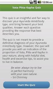 Ayurveda Vata-Pitta-Kapha Quiz- screenshot thumbnail