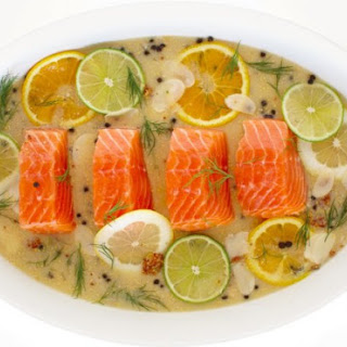 Citrus-Poached Salmon With Dijon Mustard Sauce