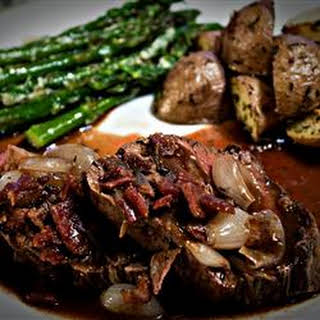 Beef Tenderloin With Roasted Shallots.